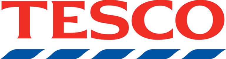 The word Tesco written in red with blue line underneath