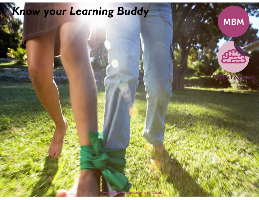 Three legged race 'know your learning buddy' MBM Sticky Learning