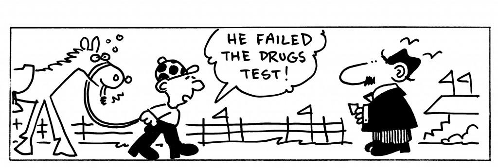 Cartoon - A jockey with a horse with the caption'he failed the drugs test!'