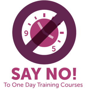 Clock with cross through it and Say No! To One Day Training Courses written underneath