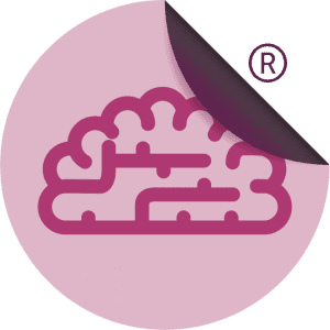 Purple brain on a pink sticker with ®