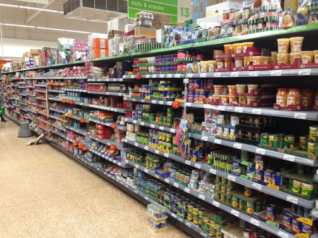 Supermarket shelves showing how products are arranged