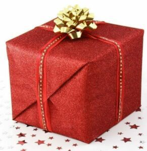 Red gift-wrapped box with a gold ribbon
