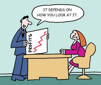 Training Course Cartoon - Man holding a graph'it depends on how you look at it'