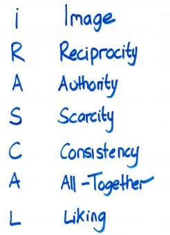 Persuasion Skills IRASCAL - Image, Reciprocity, Authority, Scarcity, Consistency, All-Together, Liking