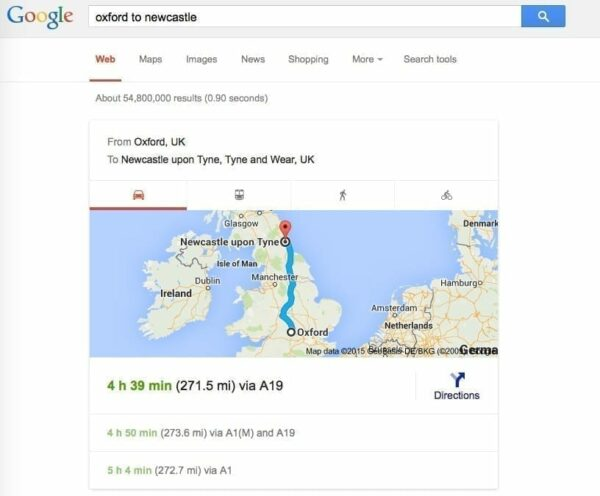 Screen shot of Google search for directions from Oxford to Newcastle