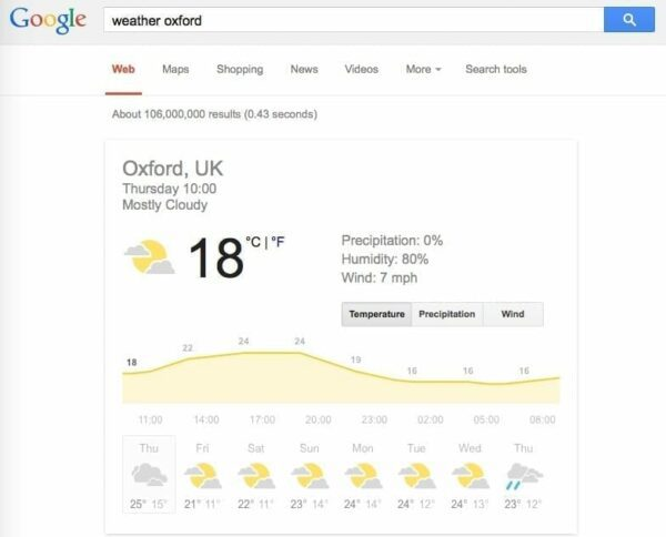 Screen shot of Google search for weather in Oxford