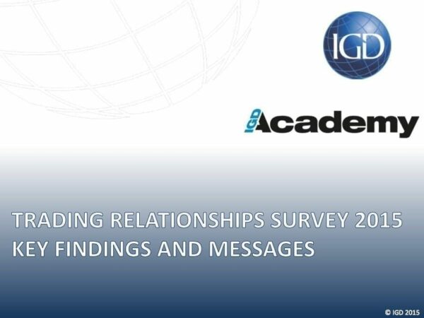 n image of the IGD Academy Training Relationships survey containing key finding and messages