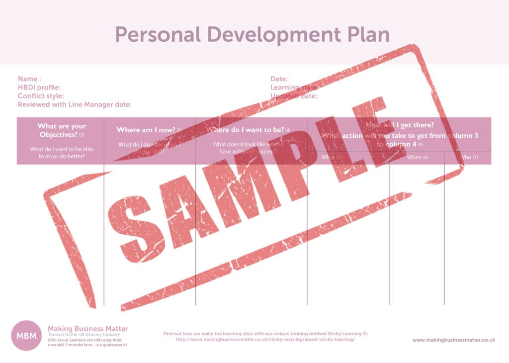 A Personal Development Plan table with a sample stamp over the top