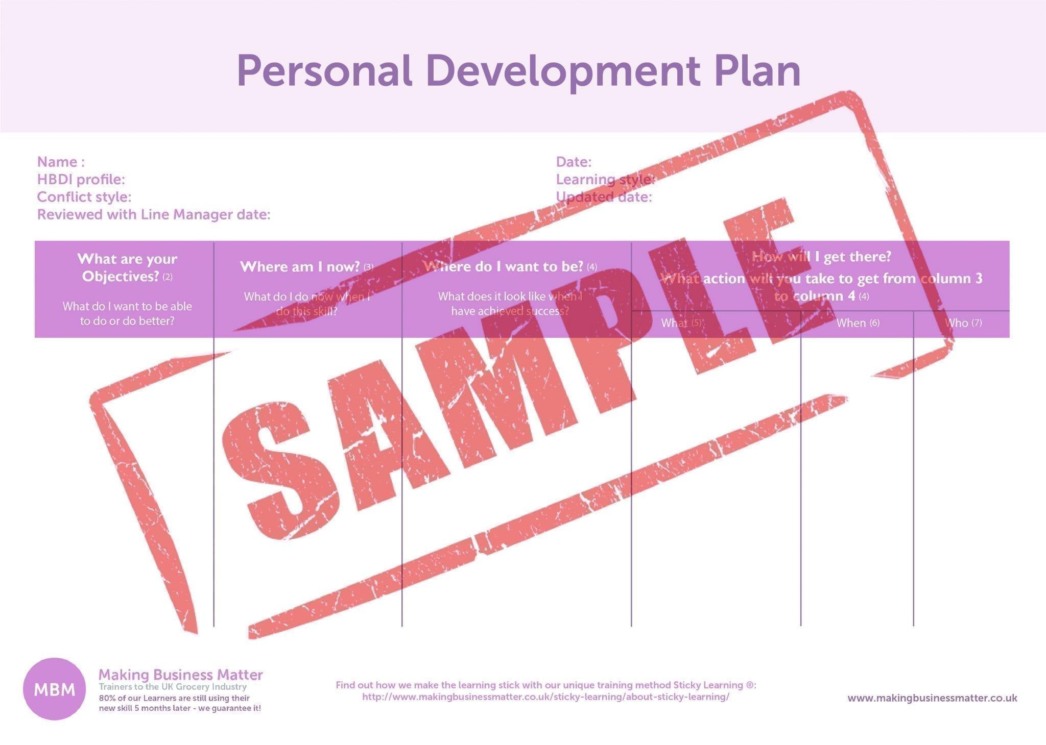 Personal Development Plan, Sample Image