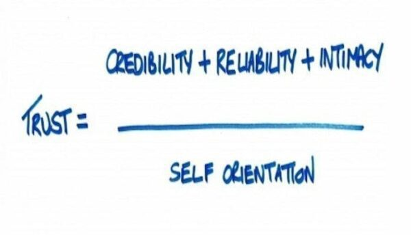 Trust=credibility + reliability + intimacy /self orientation