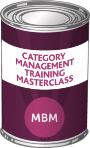 MBM Tin with the label 'Category Management Training Masterclass'