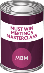 MBM Tin with the label 'Must Win Meetings Masterclass'
