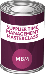 MBM Tin with the label 'Supplier Time Management Masterclass'