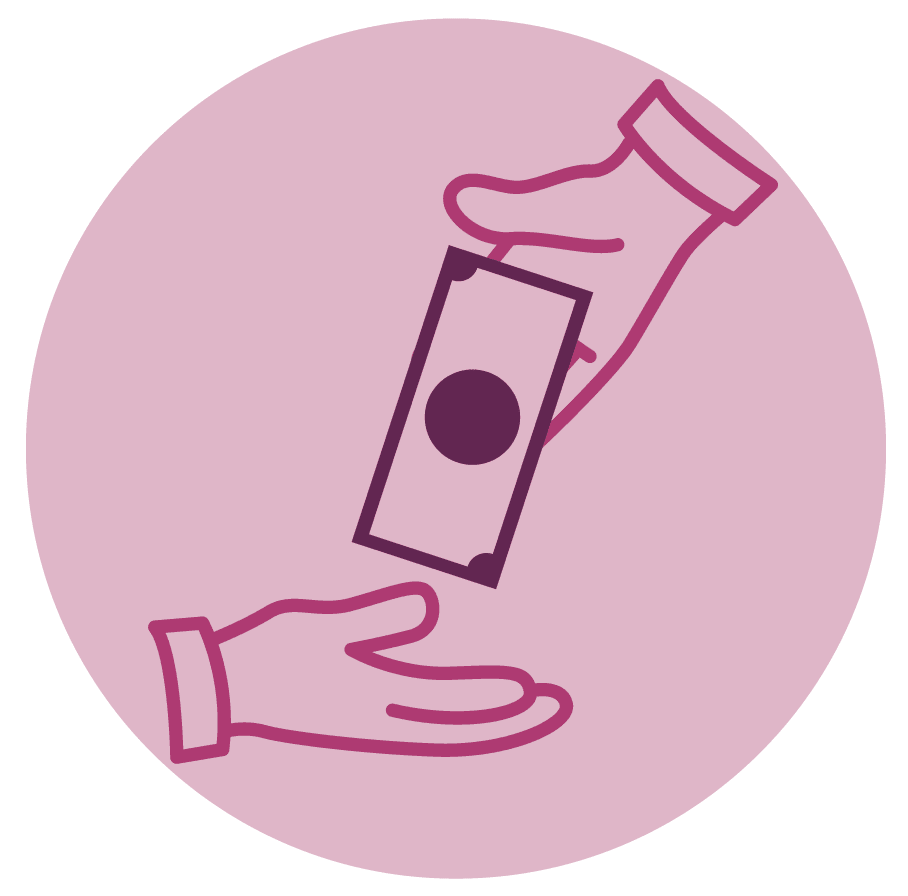 hands exchanging money icon