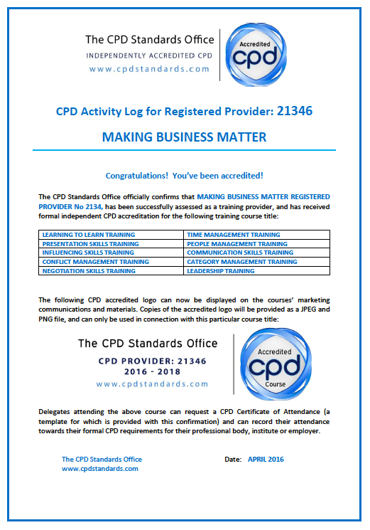 CPD Activity Log for Registered Provider - MBM