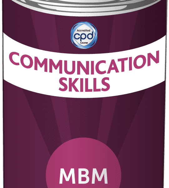 Purple tin with Communication Skills on the label