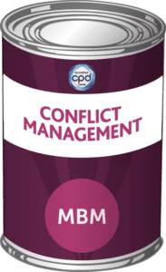 Purple tin with Conflict Management on the label