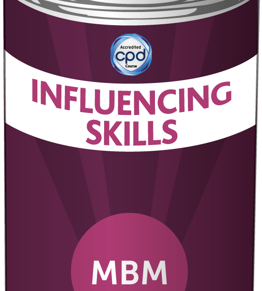 Purple tin with Influencing Skills on the label