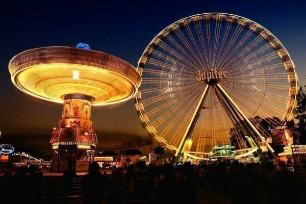 Lit up fair rides at night