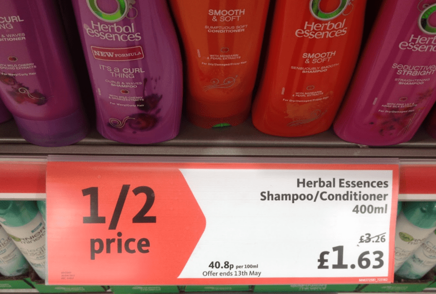 Supermarket shelf pricing promotion