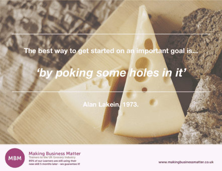 Alan Lakein quote about poking holes and goals