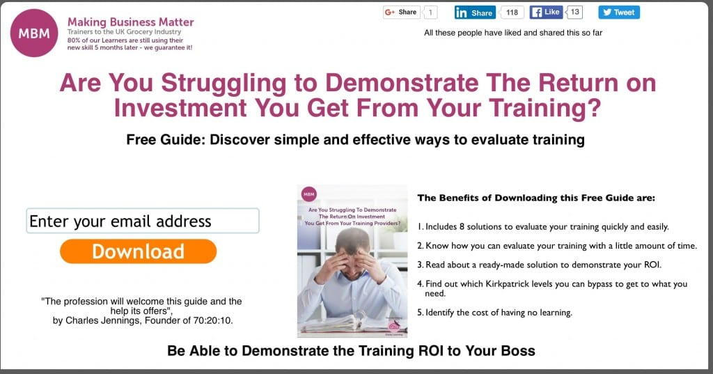 Free Guide - Are you struggling to demonstrate the ROI you get from your training?