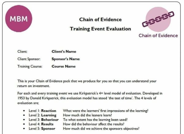 Chain of Evidence - Training Event Evaluation