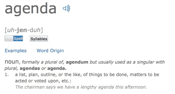 Screen shot of the meaning of the word agenda