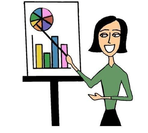 Woman in green presenting pie charts and graphs