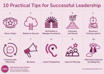 Leadership Skills. 10 Practical Tips Graphic