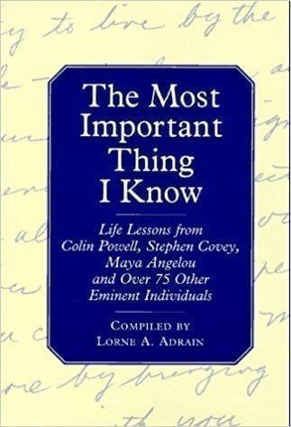 Lorne Adrain's 'The Most Important Thing I Know' Book Cover