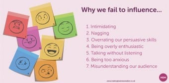 influencing skills, coloured post it notes'why we fail to influence...'
