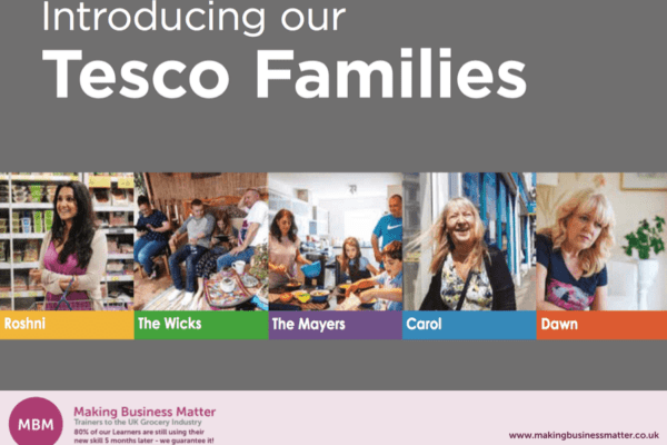 Banner adversity the Tesco Families, with pictures of different families on