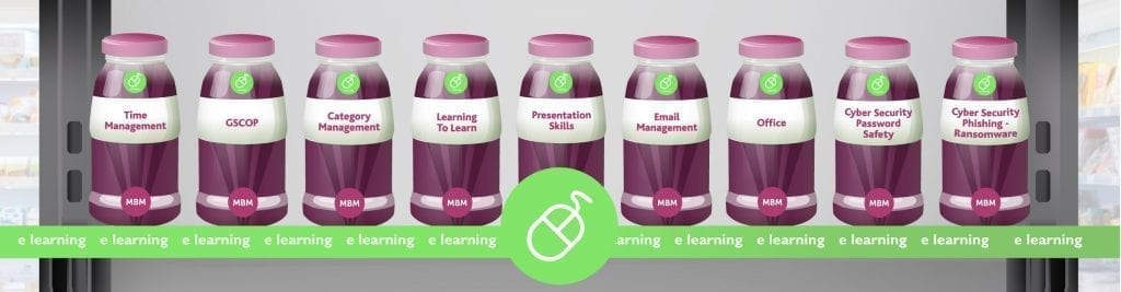 e learning shelf with bottles representing elearning courses that MBM represents