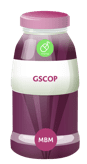 Purple product bottle with GSCOP on the label