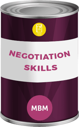 Tin can with negotiation skills label