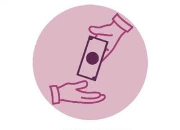 Pink hand returning a bill to another hand