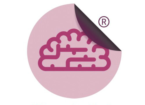 Sticky learning logo of a brain