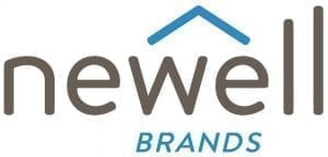 The word Newell written in grey letters with the word Brands written below in blue