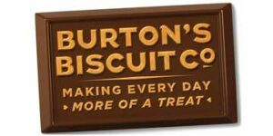 Burton's Biscuit Co written on a brown square