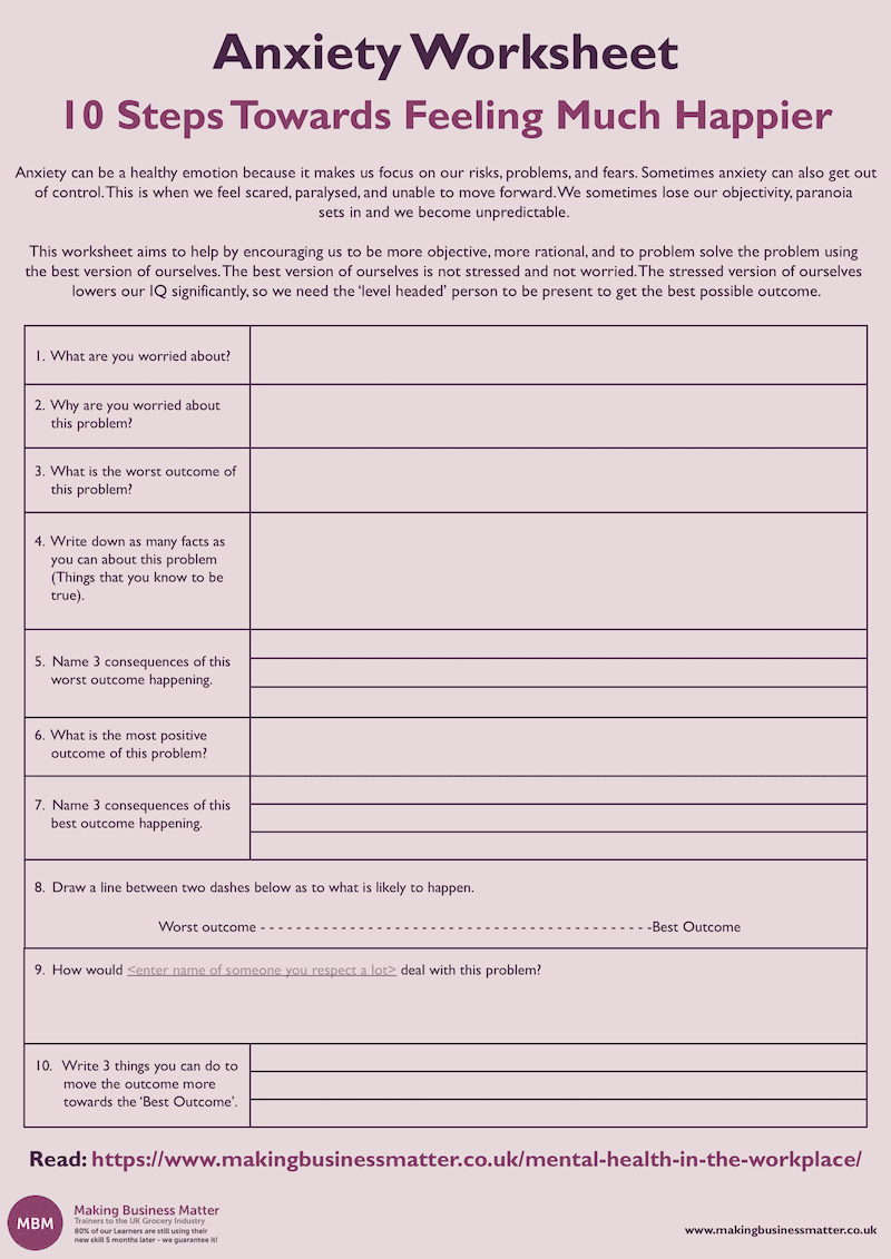 Anxiety Worksheet Sample Copy
