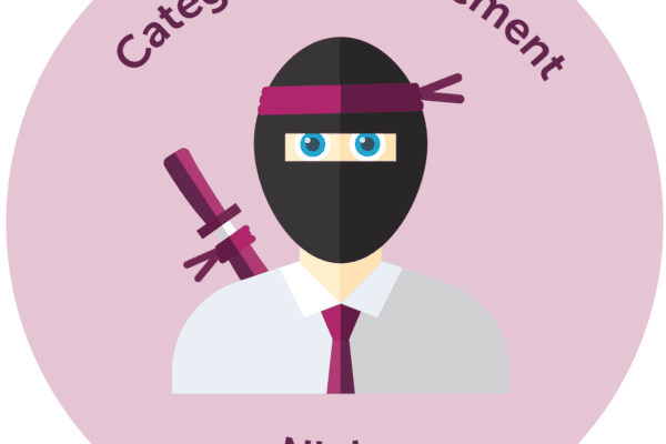 Cartoon of ninja with tie on in a pink sticker