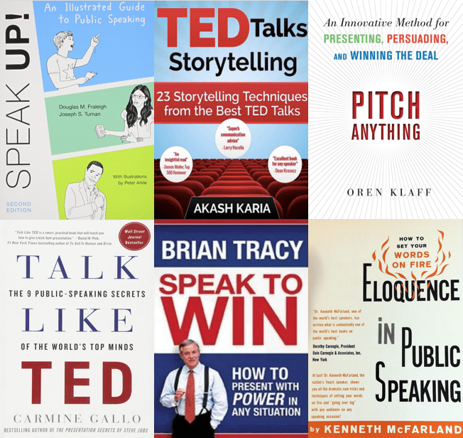 Book covers of various Presentation Books including Ted Talks Storytelling, Speak Up!, Pitch Anything, Speak to win, Eloquence in Public speaking, and Talk Like Ted