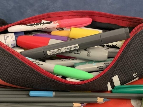 A pencil case of pens to help with revision