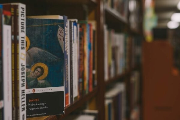 A book of The Divine Comedy on a bookshelf in a library
