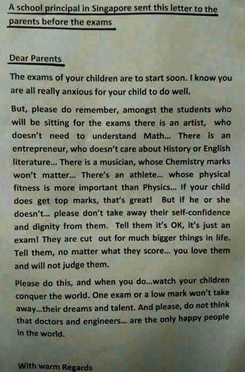 A letter from a principal in Singapore