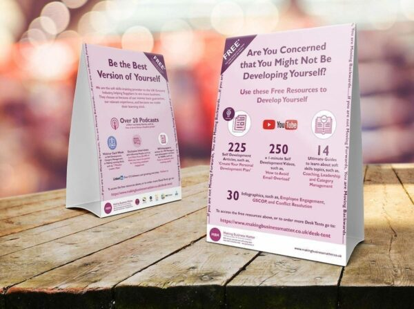 Two table tent cards advertising MBM products