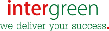 Word inter green written in red and green on white background