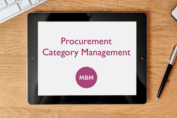 Digital tablet on desk with Procurement Category Management on the screen